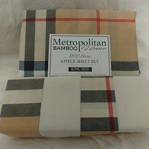 Metropolitan Bamboo Plaid King Size Sheet Set